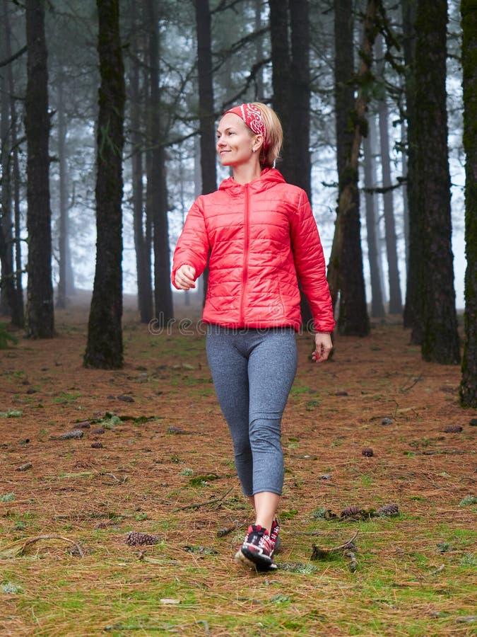 Jovem mulher que explora a floresta nevoenta do outono impressionante imagem de stock