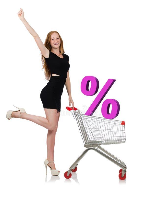 Jovem mulher que faz a compra isolada no branco imagens de stock royalty free