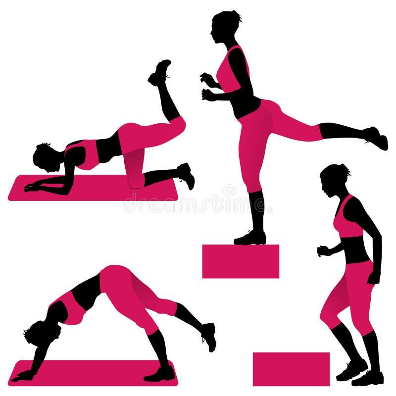 Jovem mulher que faz exercícios para as nádegas firmes ilustração do vetor