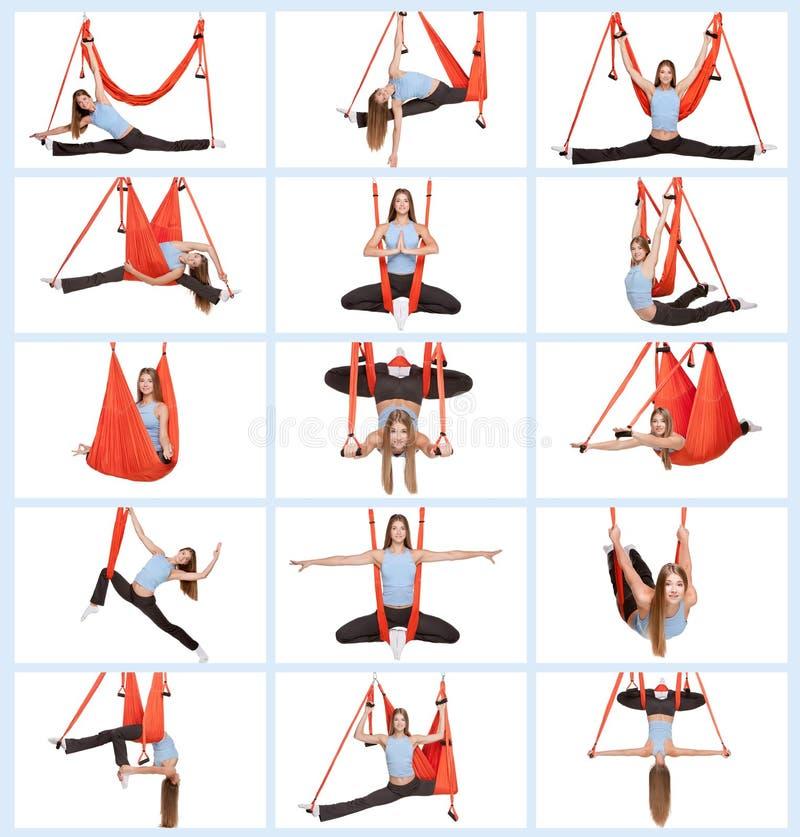 Jovem mulher que faz a ioga aérea antigravitante imagens de stock