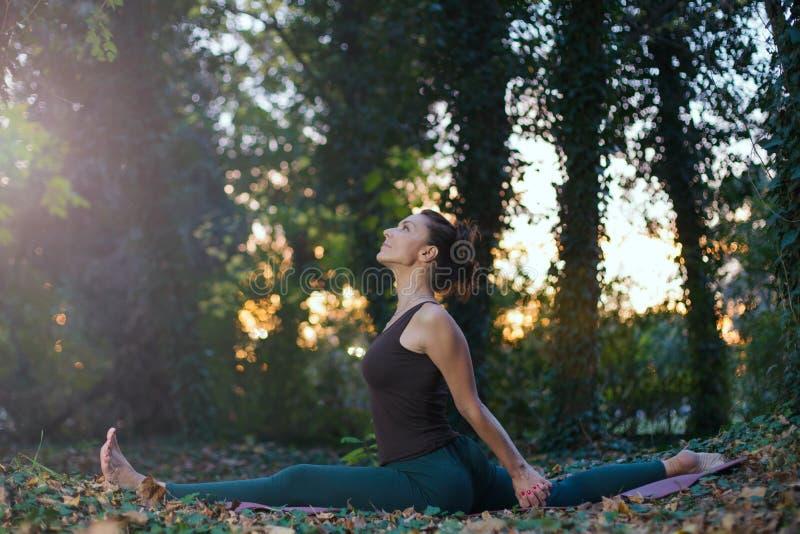 jovem mulher que faz a pose da ioga do macaco fora imagem de stock