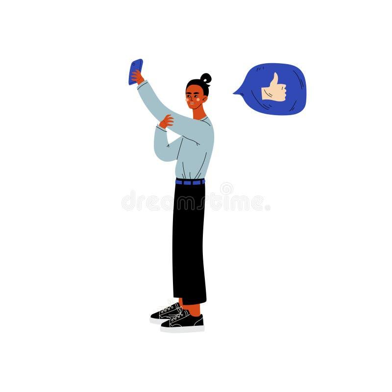 Jovem mulher que faz Selfie e que conversa Smartphone de utilização em linha, menina com bolha de uma comunicação do bate-papo, I ilustração royalty free