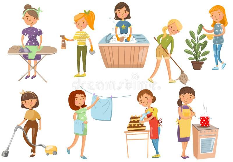 Jovem mulher que faz trabalhos domésticos diferentes, limpeza da dona de casa, cozinhando, lavando, passando, cozinhando o vetor  ilustração royalty free