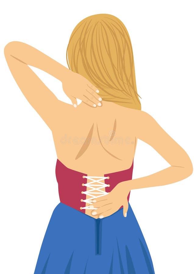 Jovem mulher que fricciona sua parte traseira dolorosa Alívio das dores, conceito da quiroterapia ilustração stock