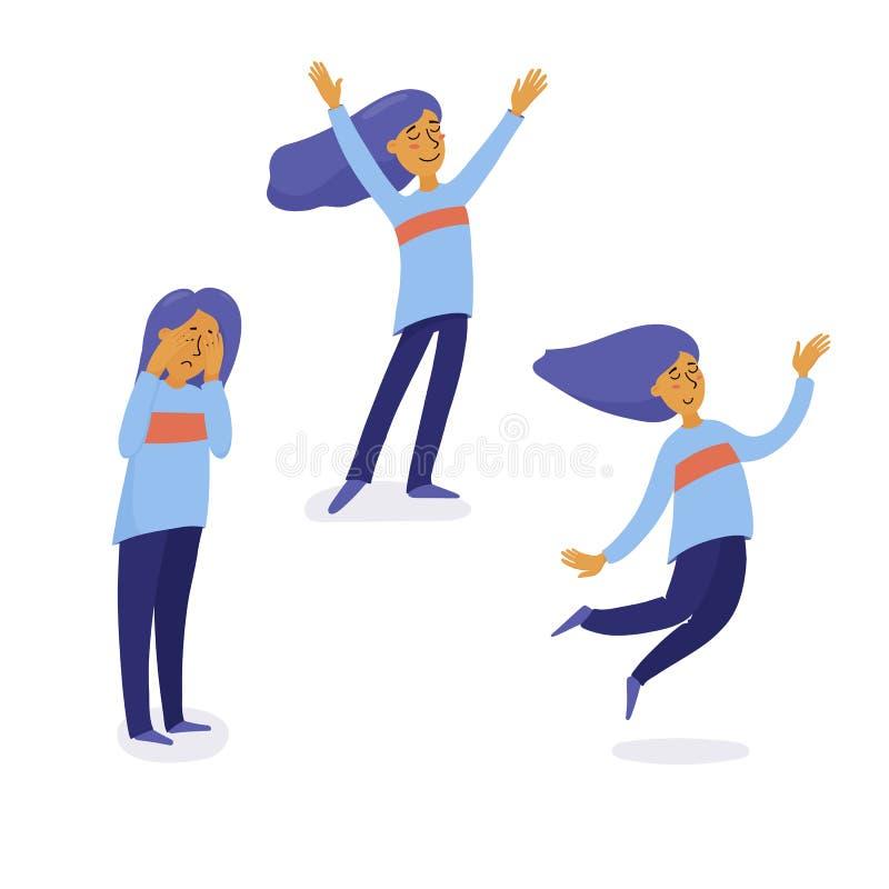 Jovem mulher que grita, sentindo melhor e então feliz ilustração stock