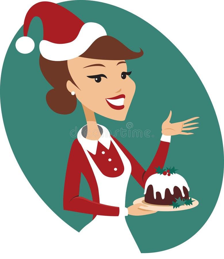 Jovem mulher que guarda o pudim do Natal ilustração royalty free