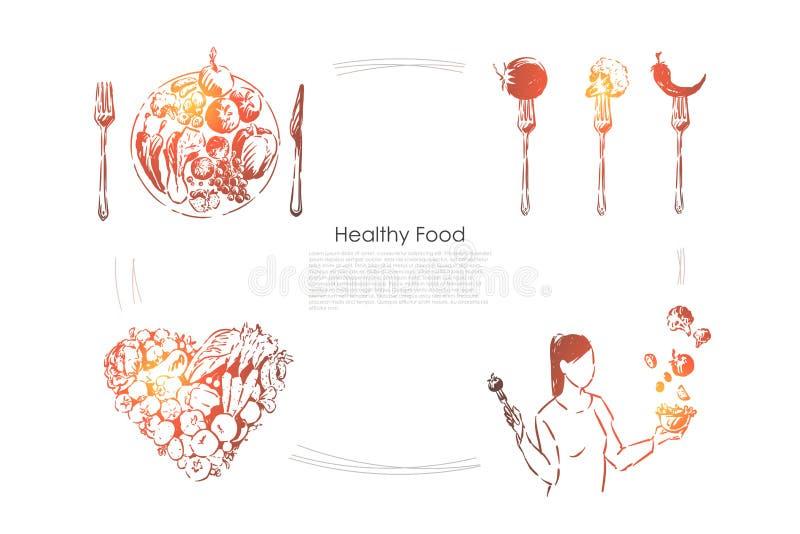 Jovem mulher que guarda a salada deliciosa, vegetais na forma do cora??o, dieta da vitamina, bandeira do estilo de vida do vegeta ilustração royalty free