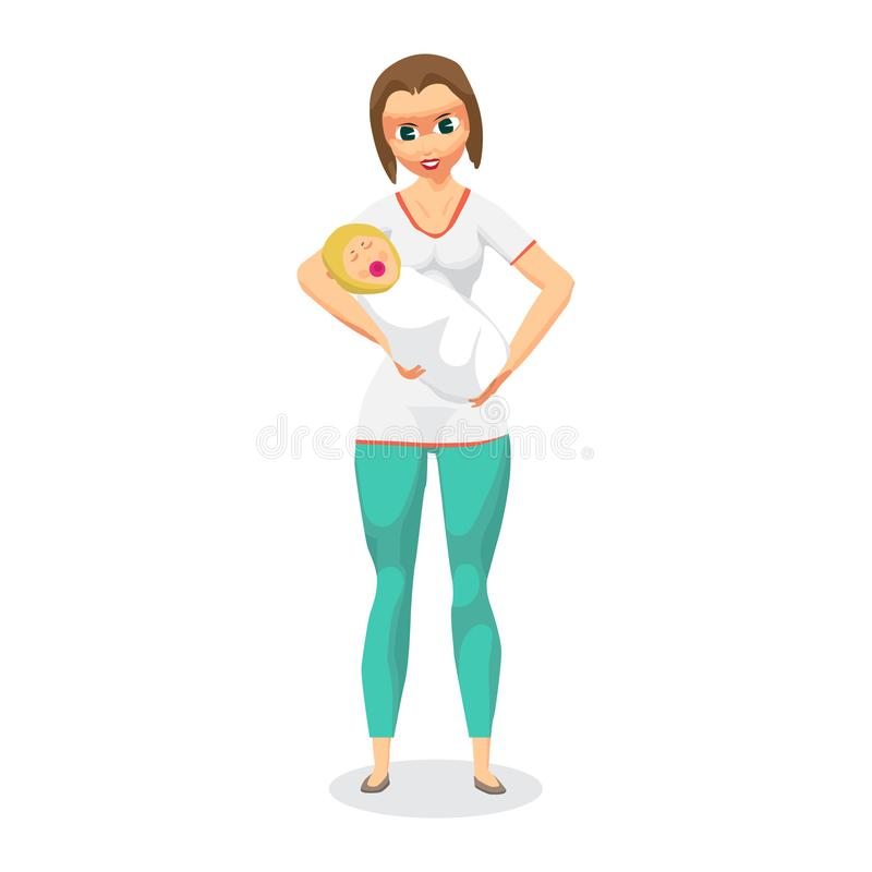 Jovem mulher que guarda um bebê recém-nascido em seus braços Mamã com criança ilustração royalty free
