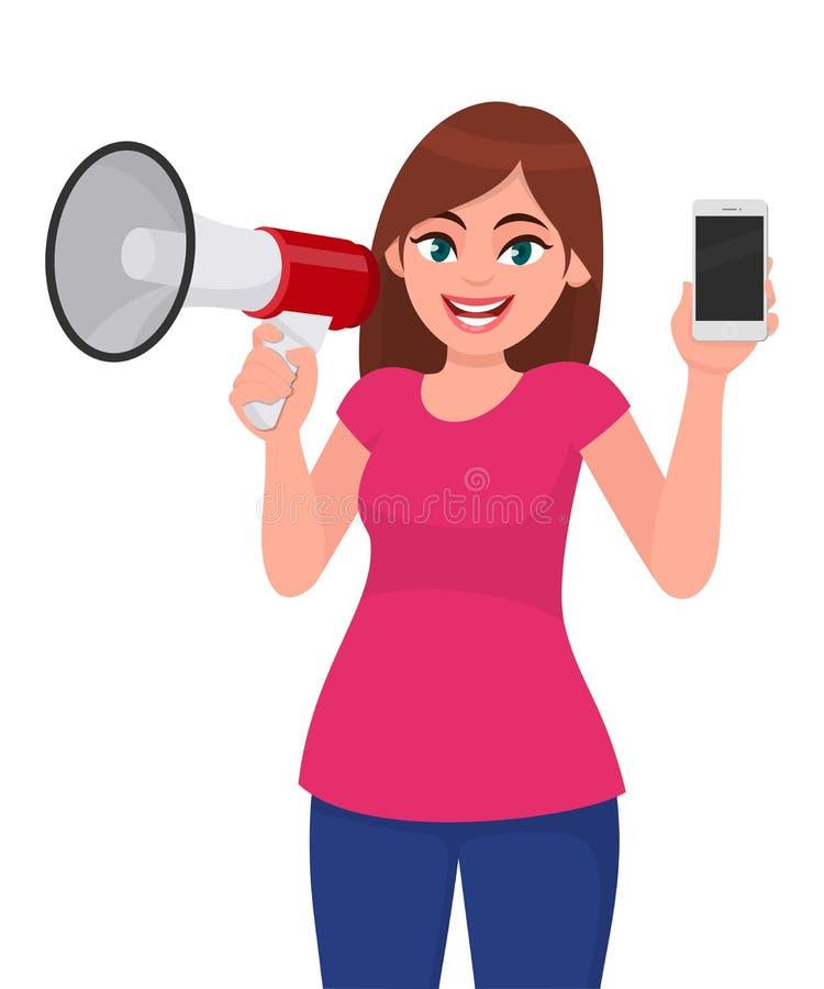 Jovem mulher que guarda um megafone ou um altifalante Pilha da tela vazia da exibição da menina, móbil, smartphone à disposição C ilustração stock
