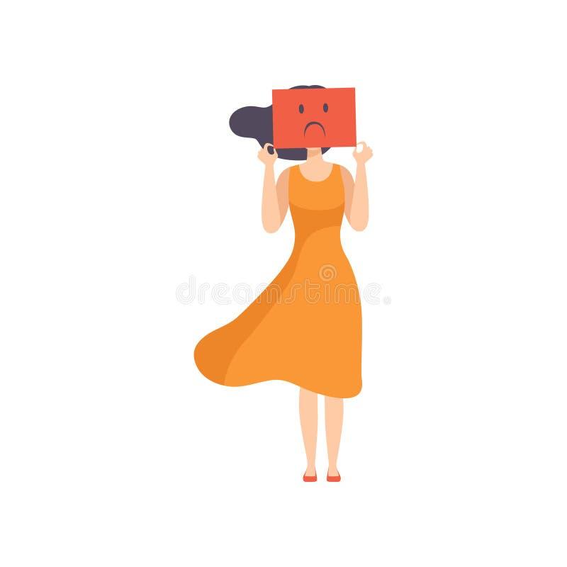 Jovem mulher que guarda uma folha de papel com uma cara triste, conceito emocional da neutralização, esforço, dor de cabeça, depr ilustração do vetor