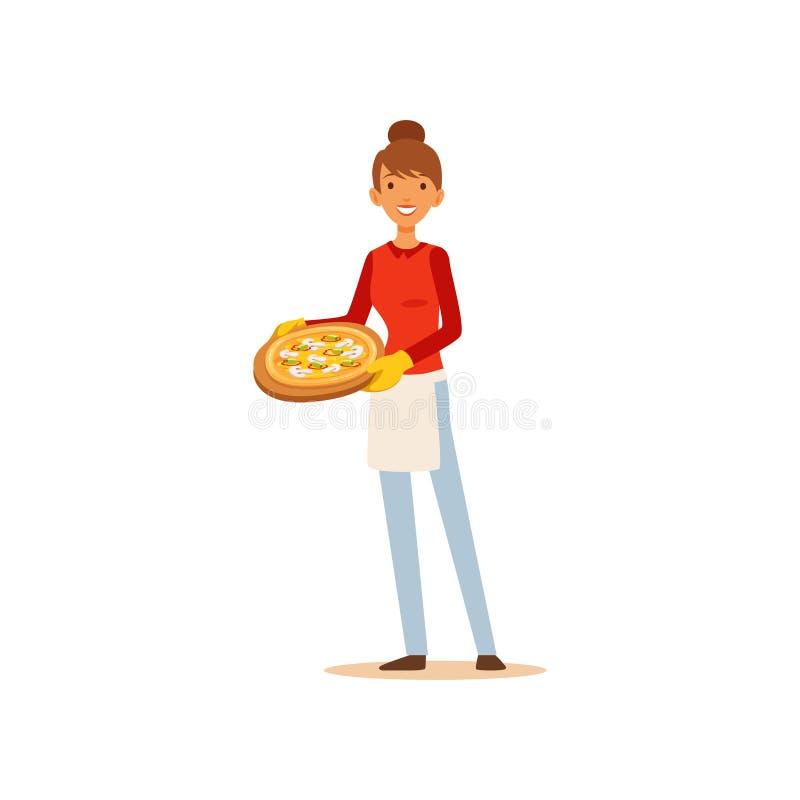 Jovem mulher que guarda uma pizza, menina da dona de casa que cozinha o alimento na ilustração do vetor da cozinha horizontalment ilustração stock
