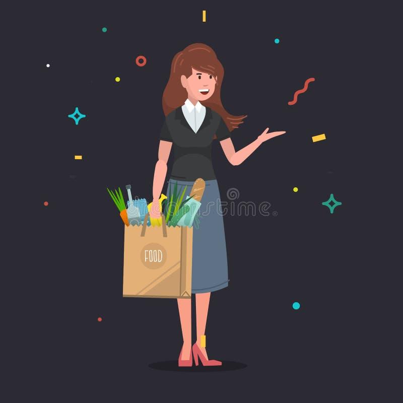 Jovem mulher que leva um saco de papel do alimento completamente dos mantimentos ilustração royalty free