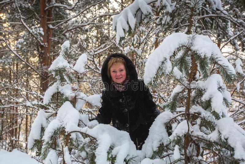 Jovem mulher que levanta no inverno no parque nevado imagem de stock royalty free