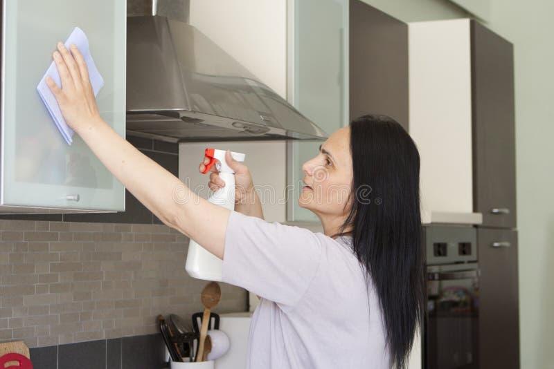 Jovem mulher que limpa a mobília imagens de stock