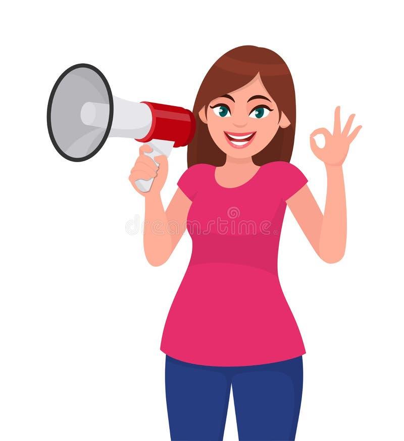 Jovem mulher que mantém um megafone/orador alto e gesticular frescos, sinal de okay/OK Menina que faz o anúncio com megafone ilustração stock