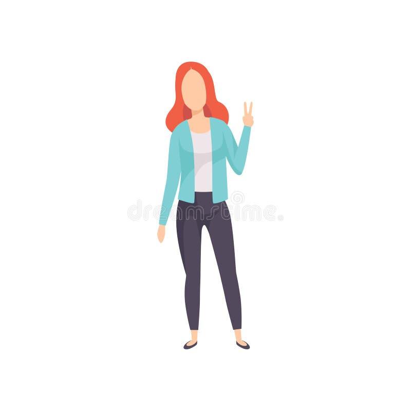 Jovem mulher que mostra o sinal da vitória, gesto de mão do sucesso, caráter sem cara da menina que gesticula a ilustração do vet ilustração do vetor