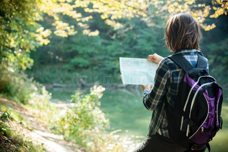 Jovem mulher que olha o mapa e que navega ao caminhar através da floresta imagem de stock royalty free
