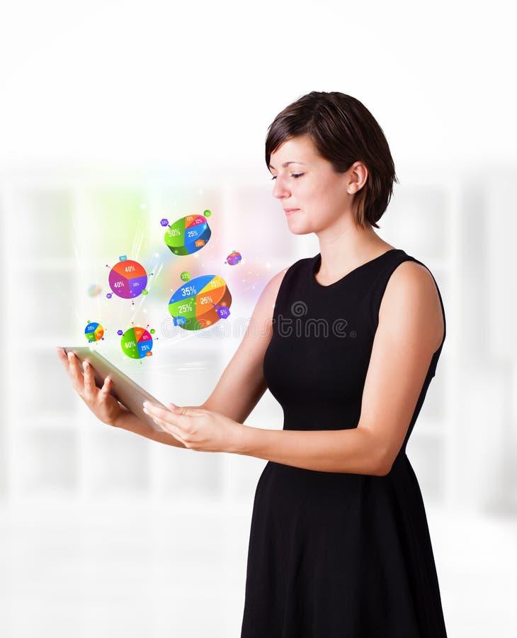 Jovem mulher que olha a tabuleta moderna com gráfico de setores circulares ilustração stock
