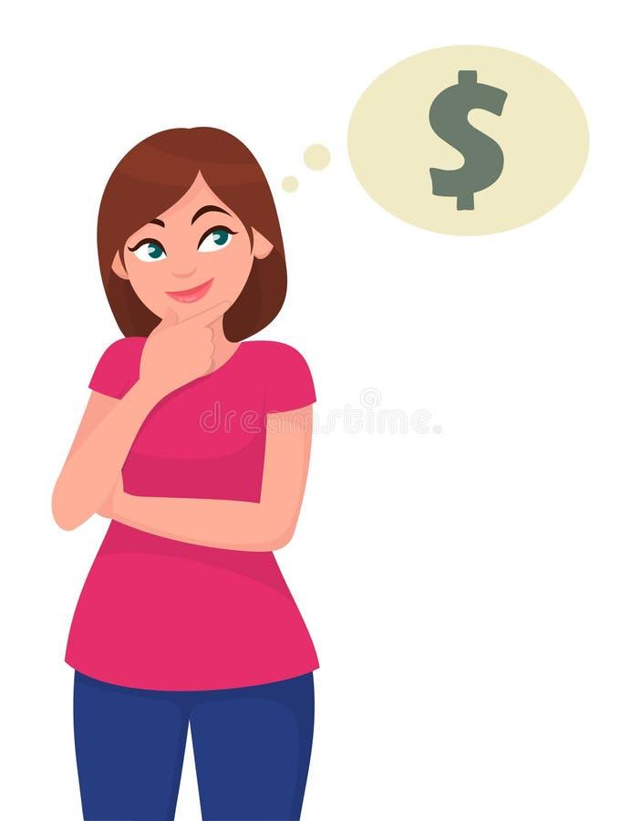 Jovem mulher que pensa e que olha acima à bolha do pensamento no símbolo do dólar ilustração royalty free
