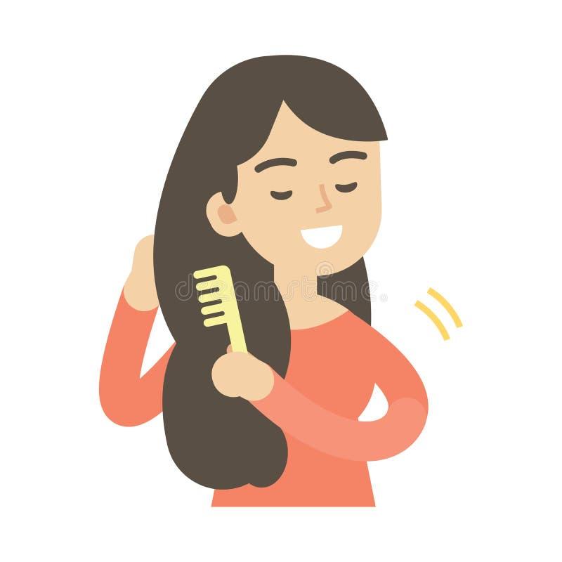 Jovem mulher que penteia o cabelo, ilustração bonito do vetor ilustração stock