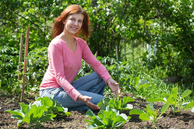 Jovem mulher que remove ervas daninhas das camas com couve dos brotos no jardim imagem de stock
