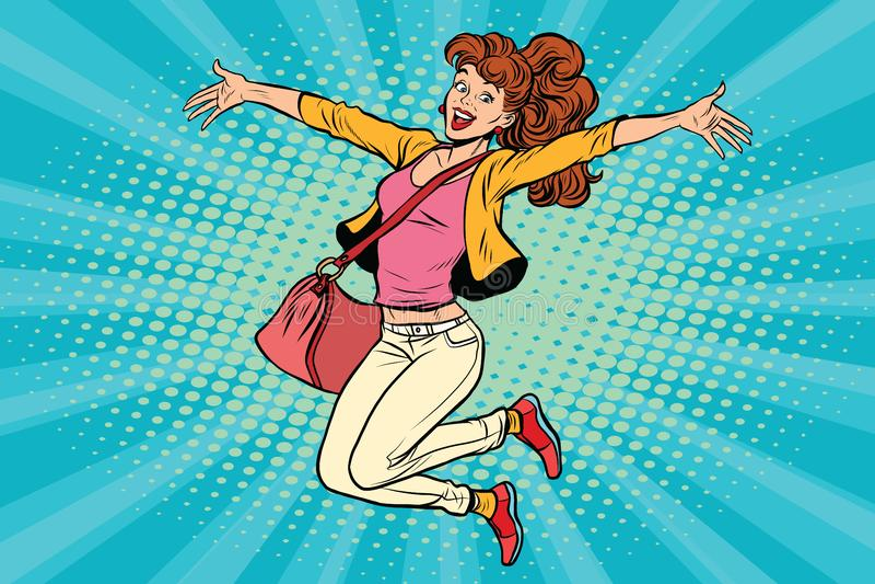 A jovem mulher que salta, estilo de vida ilustração royalty free