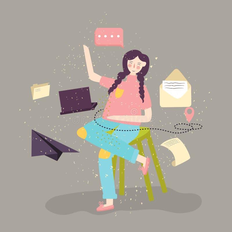Jovem mulher que senta-se e que trabalha com portátil Ilustração moderna lisa de trabalhos em rede sociais e do envio por correio ilustração royalty free