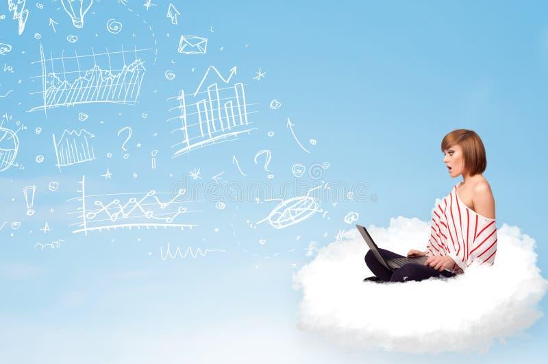 Jovem mulher que senta-se na nuvem com portátil ilustração royalty free