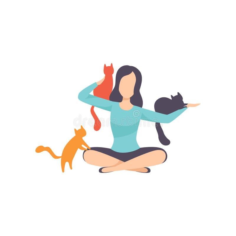 Jovem mulher que senta-se no assoalho cercado por gatos, por animais de estimação adoráveis e por sua ilustração do vetor do prop ilustração stock