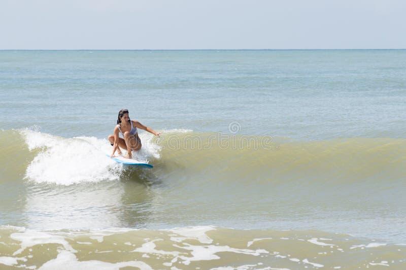 Jovem mulher que surfa uma onda pequena foto de stock