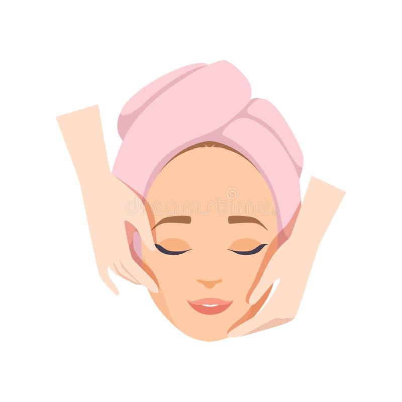 Jovem mulher que tem a massagem antienvelhecimento, procedimento facial da beleza, ilustração do vetor da terapia dos termas em u ilustração stock