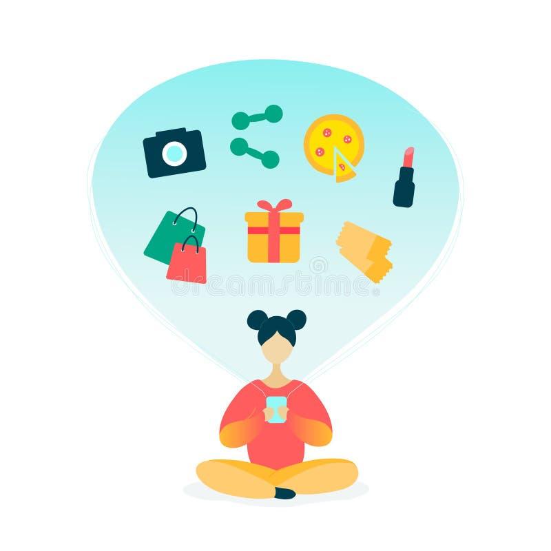 Jovem mulher que usa o smartphone para a compra em linha ilustração royalty free