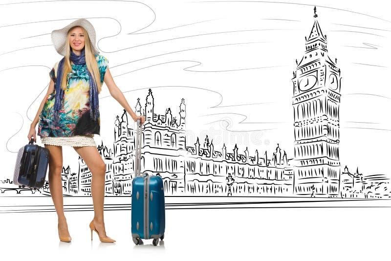 A jovem mulher que viaja a Londres no Reino Unido ilustração stock