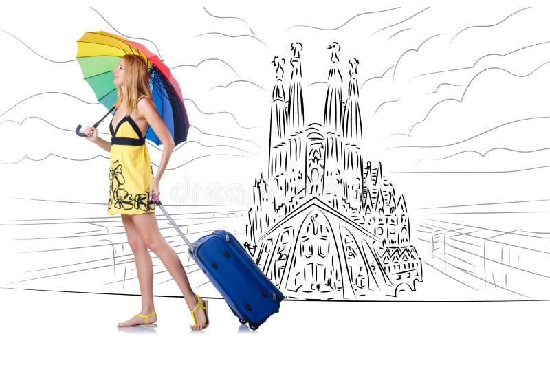 A jovem mulher que viaja a spain para ver o familia de sagrada ilustração stock