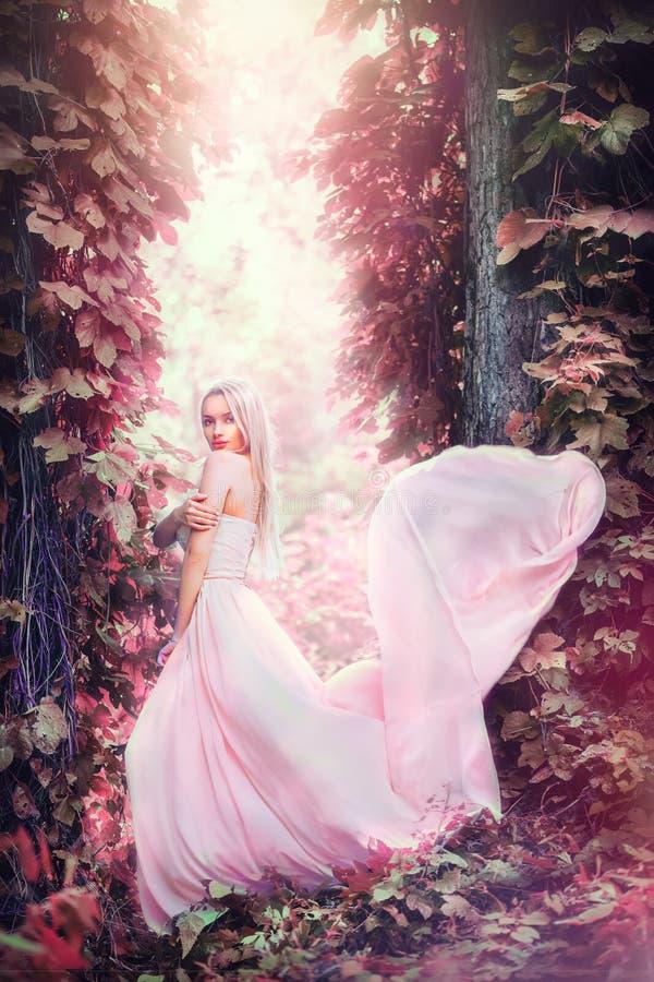 Jovem mulher romântica da beleza no vestido chiffon longo com o vestido que levanta da noiva feliz bonita enevoada da floresta da foto de stock royalty free