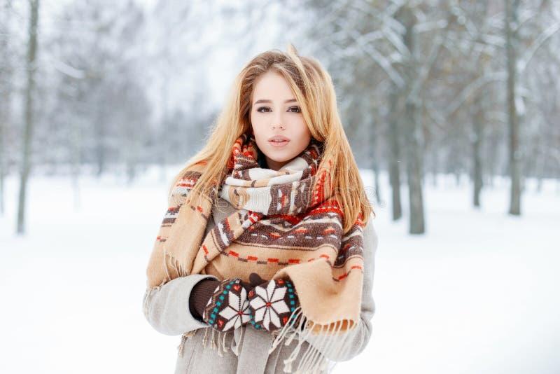 A jovem mulher sensual em um revestimento cinzento à moda em mitenes feitos malha bonitos com um lenço de lã do vintage anda em u imagens de stock royalty free