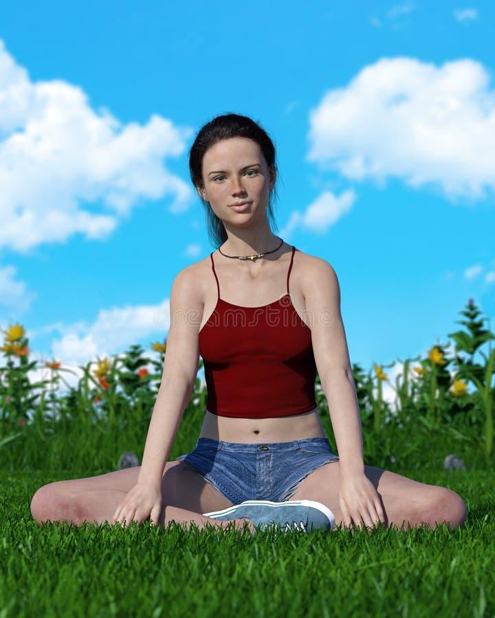 A jovem mulher senta-se ocasionalmente em um campo gramíneo com flores fotografia de stock