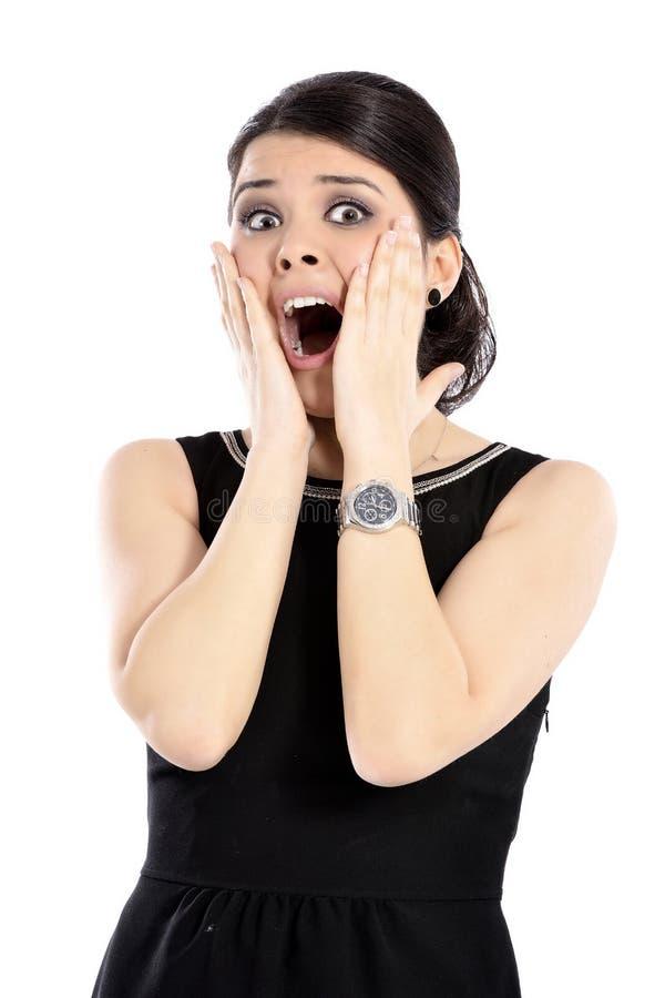 Jovem mulher surpreendida fotos de stock