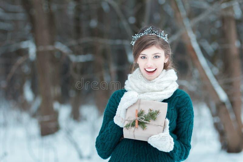 Jovem mulher surpreendida que guarda o presente do Natal imagens de stock royalty free