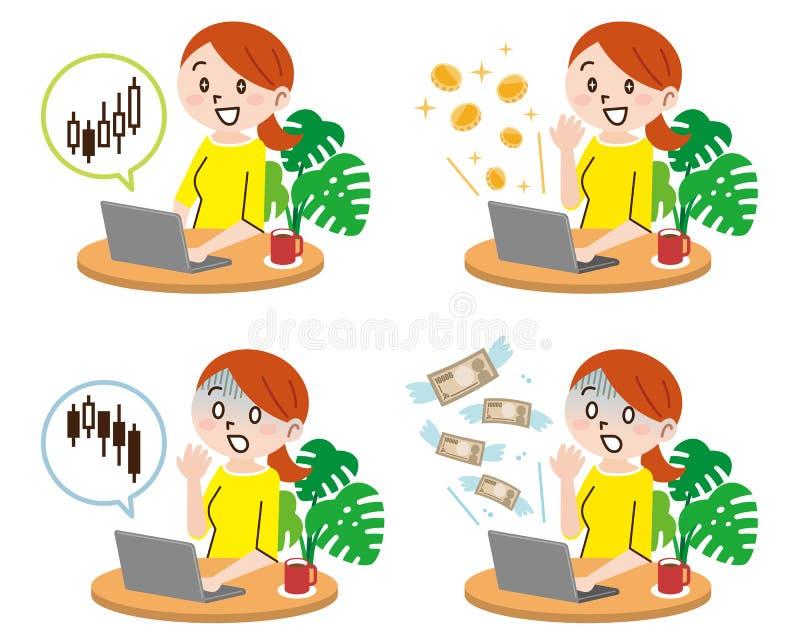 Jovem mulher, tecnologia e conceito do dinheiro ilustração royalty free