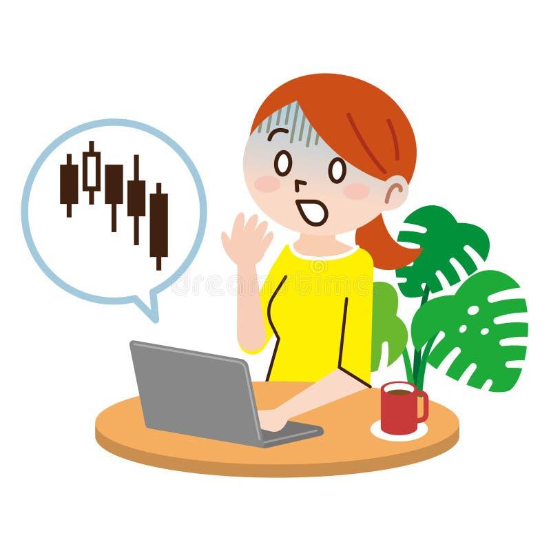 Jovem mulher, tecnologia e conceito do dinheiro ilustração do vetor