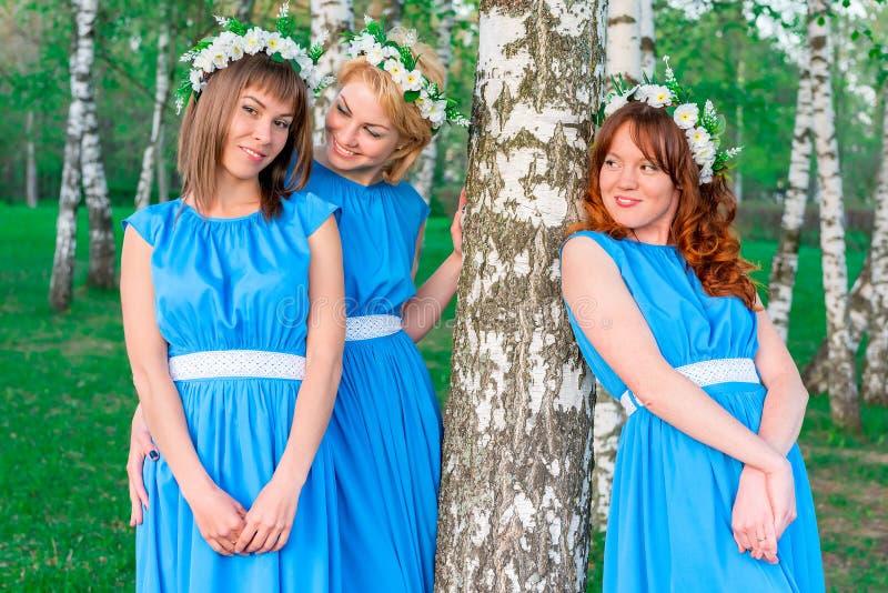 Jovem mulher três alegre no parque fotografia de stock