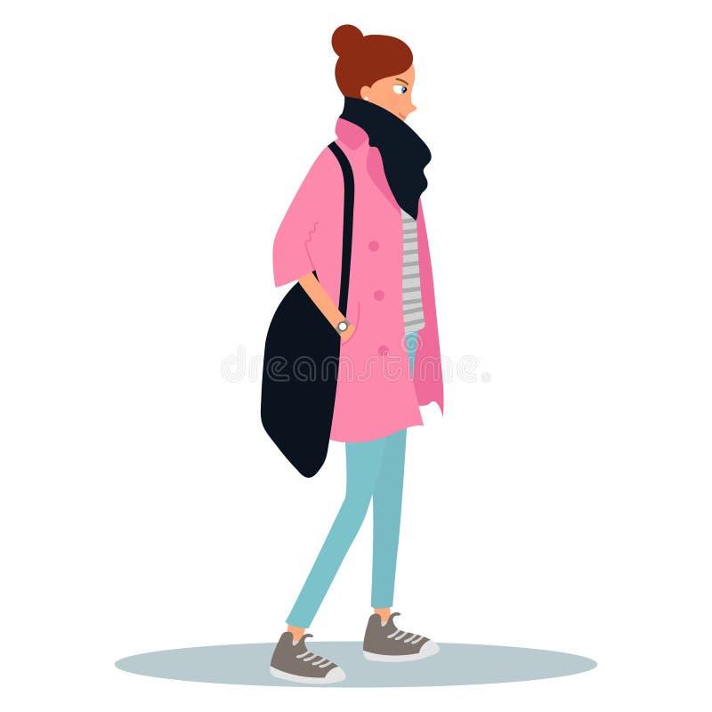 Jovem mulher vestida no revestimento e em guardar um saco Personagem de banda desenhada f?mea isolado no fundo branco Olhar do es ilustração do vetor