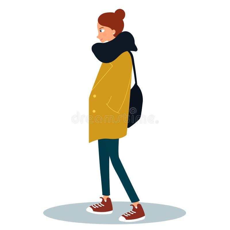 Jovem mulher vestida no revestimento e em guardar um saco Personagem de banda desenhada f?mea isolado no fundo branco Olhar do es ilustração stock