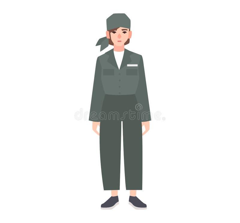 Jovem mulher vestida no uniforme da prisão isolado no fundo branco O prisioneiro fêmea, condenou criminoso, prendido ou ilustração stock