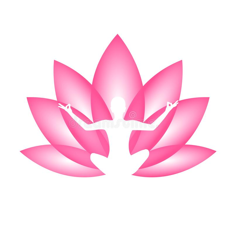 Jovem que senta-se na silhueta da posição de lótus da meditação da ioga com lírio cor-de-rosa ilustração do vetor