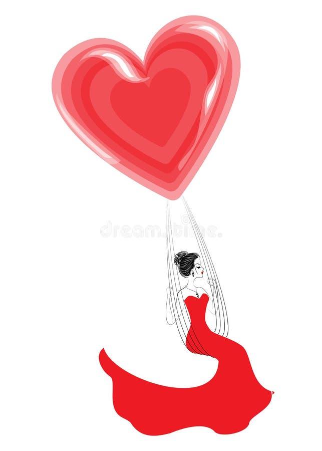 Jovem senhora bonita em um vestido vermelho Uma menina senta-se em um balanço e voa-se em um balão na forma de um coração Ilustra ilustração stock