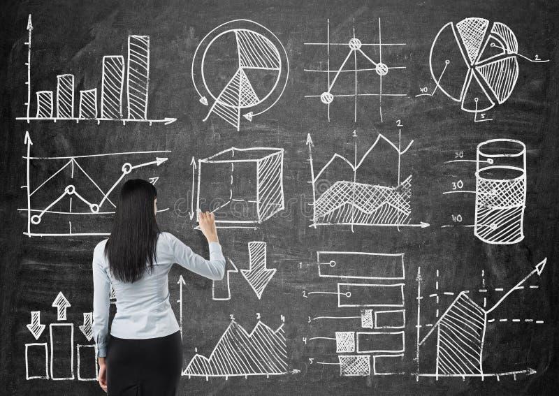 A jovem senhora está tirando alguns cartas e gráficos no quadro preto Ideia traseira do modelo imagem de stock