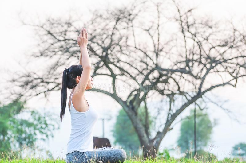 Jovem senhora que faz o exercício da ioga na área exterior do campo verde que mostra a calma calma na mente da meditação foto de stock royalty free
