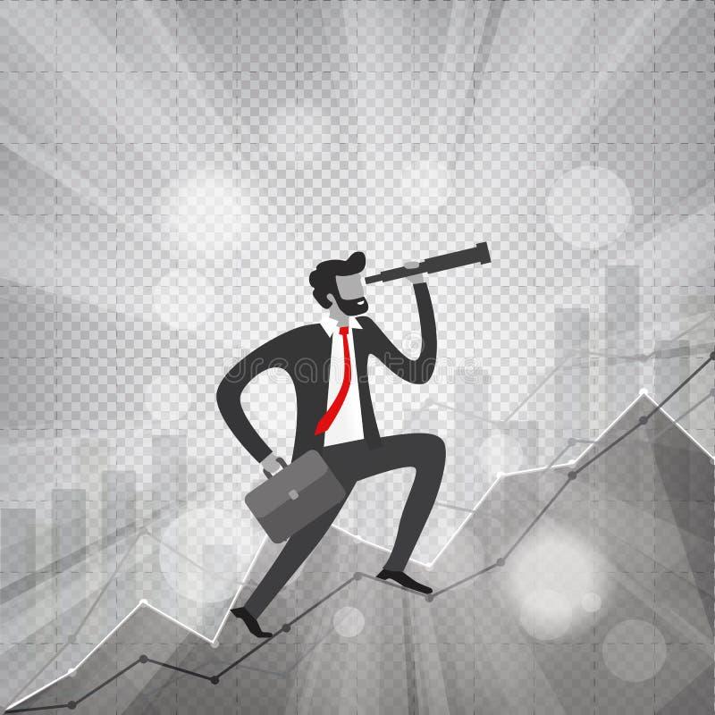 joven empresario con barba y telescopio en su mano mira al futuro y sube las estadísticas de crecimiento de los negocios que mues stock de ilustración